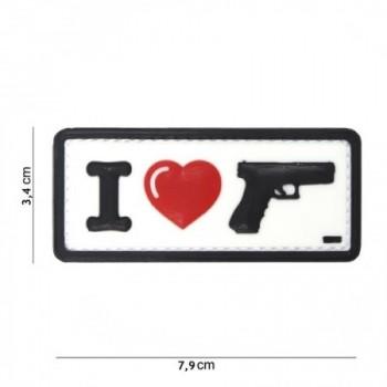 PARCHE PVC I LOVE MY GUN BLANCO