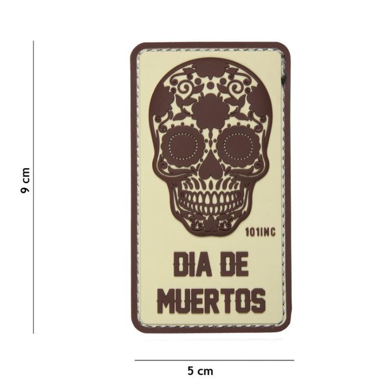 PARCHE PVC DIA DE MUERTOS & CALAVERA MARRON