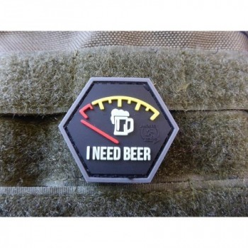 PARCHE PVC I NEED BEER / GLOW IN THE DARK NEGRO